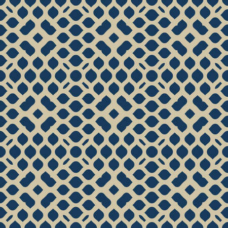 Vector geometric seamless pattern. Abstract golden texture with mesh, weave, small flower shapes, petals, leaves. Elegant dark blue and gold background. Luxury minimal repeat design for decor, carpet