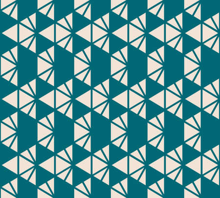 Geometric triangles seamless pattern. Vector texture in teal and beige color. Elegant minimal graphic background with triangles, diamonds, pyramids, grid, net. Simple abstract repeat design Ilustração
