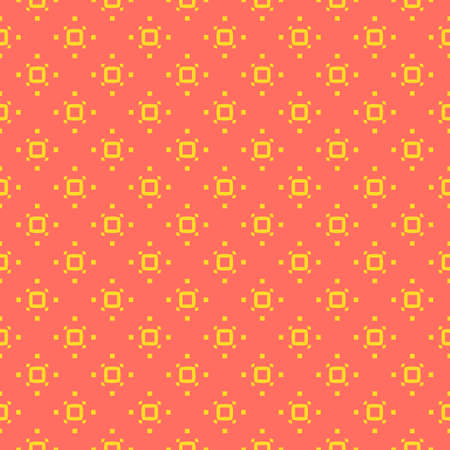 Simple minimalist geometric seamless pattern with small squares, dots, ring, pixels. Vector abstract background in yellow and coral color. Subtle minimal texture. Funky repeating design for decoration