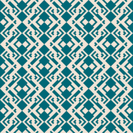 Abstract geometric seamless pattern. Vector background in teal and beige color. Ethnic tribal motif. Simple ornament with rhombuses, diamond shapes, grid. Elegant graphic texture. Repeat geo design