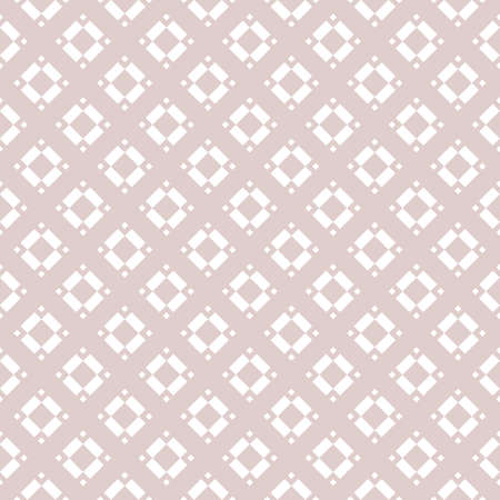 Subtle vector geometric seamless pattern with rhombuses, diamonds, squares, floral shapes, tiles. Abstract texture in soft pink color. Minimal ornament. Simple luxury background. Repeat ornate design