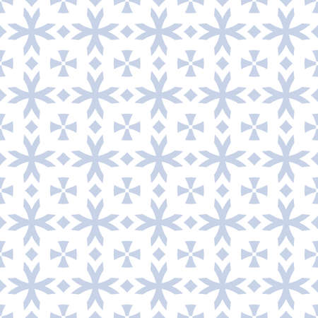 Vector geometric seamless pattern with flower shapes, crosses, diamonds. Subtle light blue and white floral ornament in gothic style. Simple ornamental texture. Repeat design for decor, wallpapers