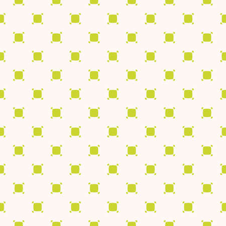 Vector minimalist seamless pattern with small rounded squares, dots. Abstract geometric texture in bright green and white color. Subtle minimal background. Simple repeat design for decor, wallpapers