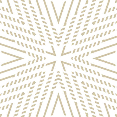Golden geometric lines seamless pattern. Vector abstract gold and white ornament. Simple geometrical shapes, stripes, stars, rhombuses. Modern luxury linear background. Minimal repeat geo design Ilustração