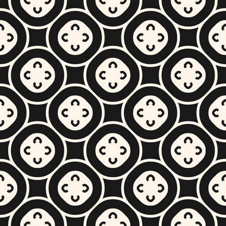 Vector monochrome seamless pattern, floral tiling geometric texture with simple figures, flowers, circles, squares. Abstract repeat background. Oriental design for home decor, textile, fabric, prints