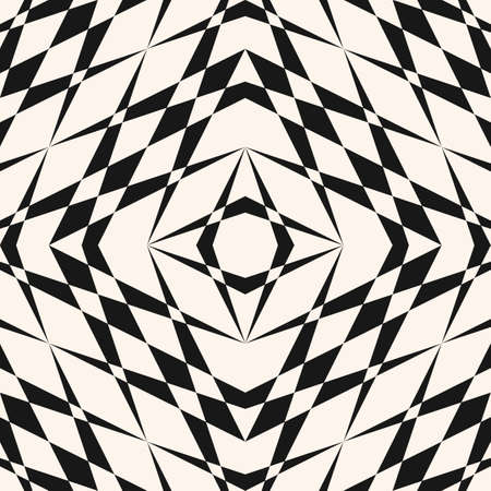 Vector geometric seamless pattern. Simple traditional folk ornament. Repeat ornamental background with crossing shapes, lines, grid, net. Black and white tileable texture. Monochrome repeated design Ilustração
