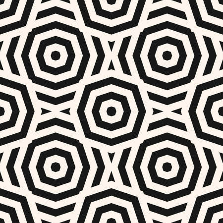 Vector monochrome geometric seamless pattern. Abstract linear texture with lines, stripes, octagon shapes, circles. Simple black and white graphic background. Modern ornament. Stylish repeat design Ilustração