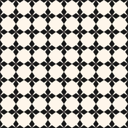 Vector ornamental pattern. Abstract geometric seamless texture with star shapes, crosses, rhombuses, square grid. Simple geometrical floral ornament, repeat tiles. Monochrome background design