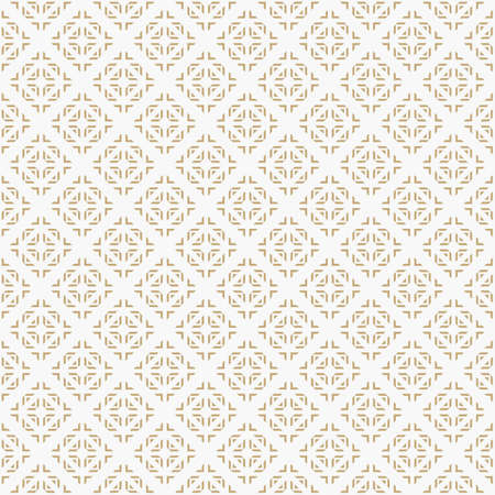 Golden vector geometric ornamental seamless pattern. Ethnic tribal style ornament. Abstract texture with squares, crosses, triangles, rhombuses. Gold and white luxury background. Ornate repeat design