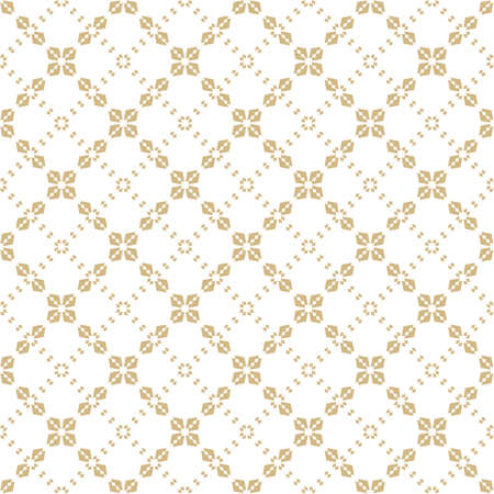 Subtle golden vector geometric pattern. Abstract seamless background with floral shapes, grid, lattice, cross lines, repeat tiles. Elegant white and gold texture. Luxury design for decor, package Ilustração