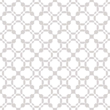 Vector ornamental seamless pattern. Subtle abstract floral texture in gray and white colors. Delicate background with curved shapes, crosses, flowers, grid, net, mesh. Repeat design for decor, cloth