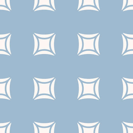 Vector minimalist geometric seamless pattern. Simple ornament with big curved squares. Abstract minimal background in light blue and beige colors. Perforated surface texture. Modern repeat design Ilustração