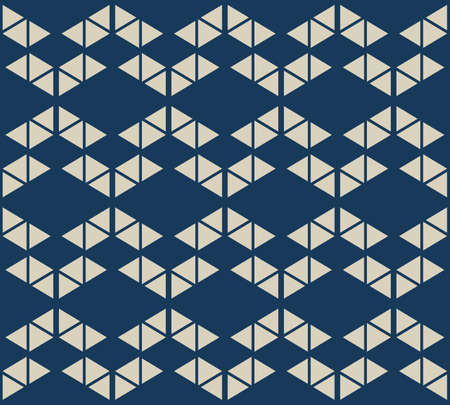 Golden geometric triangles seamless pattern. Simple vector gold and deep blue abstract texture with small triangles, diamond shapes, grid, net. Elegant graphic background. Stylish modern repeat design