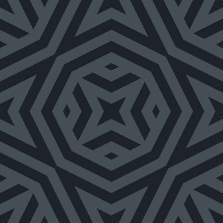 Vector abstract monochrome seamless pattern with geometric shapes, stripes, lines, stars, octagons. Simple texture in dark gray and black. Stylish modern background. Repeat design for decor, textile