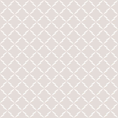 Subtle vector ornament pattern. Minimalist seamless pattern with rhombuses, star shapes, delicate grid, mesh, lattice. Abstract geometric background texture in white and beige colors. Repeat design