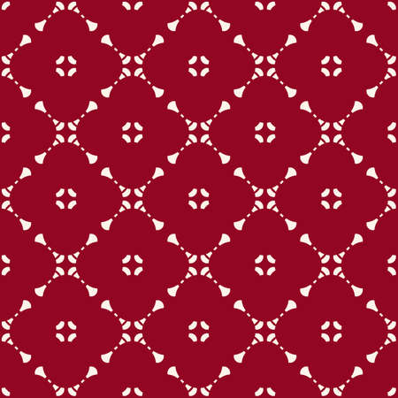 Vector geometric floral seamless pattern with small flower shapes, delicate grid, net, mesh, lattice. Simple abstract background in dark red and white color. Elegant ornament texture. Repeat design Ilustração