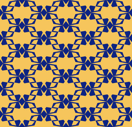 Vector geometric seamless pattern with angular shapes, grid, lattice. Elegant ornamental texture. Abstract background in dark blue and yellow colors. Repeat design for decor, wallpapers, fabric, cloth