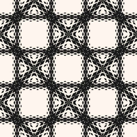 Vector geometric seamless pattern with fading rhombuses, diamonds, net, grid, mesh. Halftone gradient effect. Black and white background. Modern abstract monochrome texture. Stylish repeat design Ilustração
