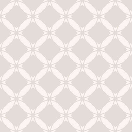 Vector geometric ornament. Abstract seamless pattern with grid, lattice, net, floral shapes, diamonds, tiles. Subtle beige background. Simple texture. Repeat design for wallpapers, print, linen, decor