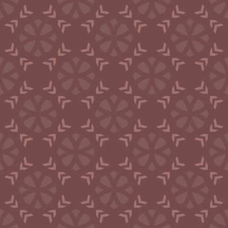 Vector geometric floral seamless pattern. Simple ornament with flower silhouettes, crosses, diamond shapes, grid. Abstract ornamental background in brown color. Retro vintage style. Repeatable design