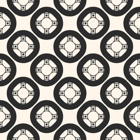 Vector seamless pattern, monochrome subtle background with circles, carved shapes, smooth lines. Moroccan style illustration, square mosaic tiles. Ornamental abstract texture. Design for decor, prints
