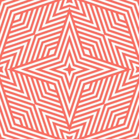 Vector geometric lines seamless pattern. Abstract linear background in coral color. Stylish graphic texture with stripes, diagonal lines, rhombuses, stars. Repeat design for decor, fabric, cover, wrap