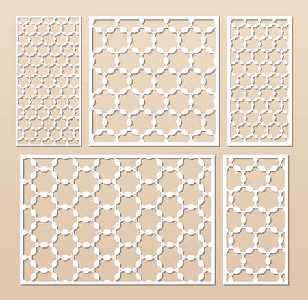 Laser cut panel set. Elegant vector template with abstract geometric pattern in Arabian style, ornamental grid, lattice. Decorative stencil for laser cutting of wood, metal. Aspect ratio 3:2, 1:1, 1:2