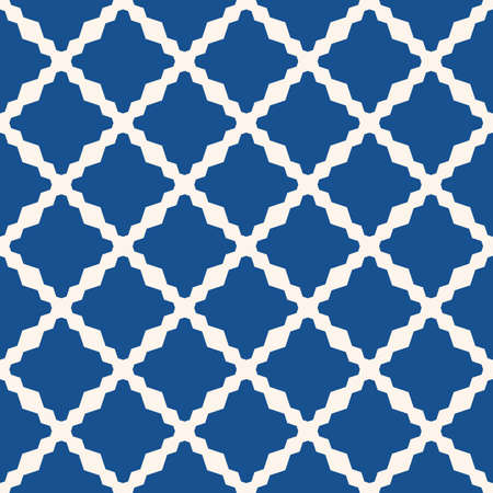 Diamond grid pattern. Vector abstract floral seamless texture. Elegant blue and white background. Simple geometric ornament with diamond shapes, rhombuses, net, lattice, repeat tiles. Oriental style Ilustração