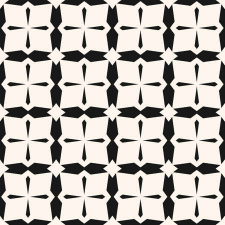 Simple vector black and white geometric seamless pattern. Abstract  texture with cross lines, grid, net, lattice. Monochrome ornamental background. Repeat design for tileable print, fabric, textile Ilustração