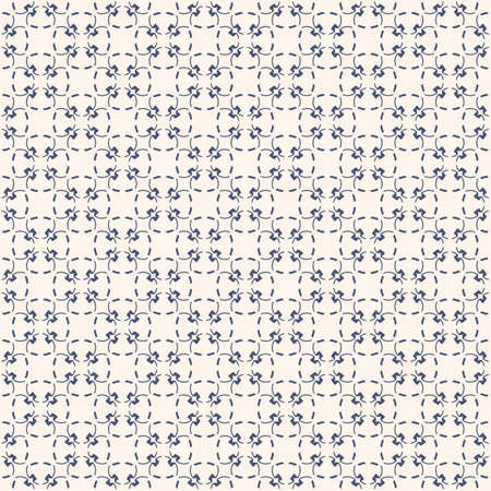 Subtle minimalist floral texture. Elegant vintage geometric seamless pattern with small flower silhouettes, delicate grid, mesh. Vector abstract repeatable background in navy blue and beige colors