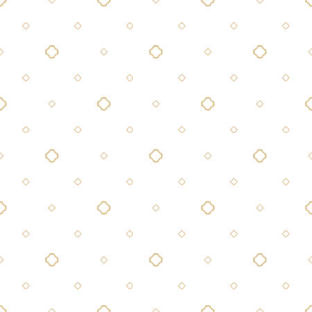 Vector minimalist golden geometric seamless pattern. Subtle texture with small floral shapes, outline crosses. Simple abstract white and gold background. Modern minimal design for decor, wrapping, web
