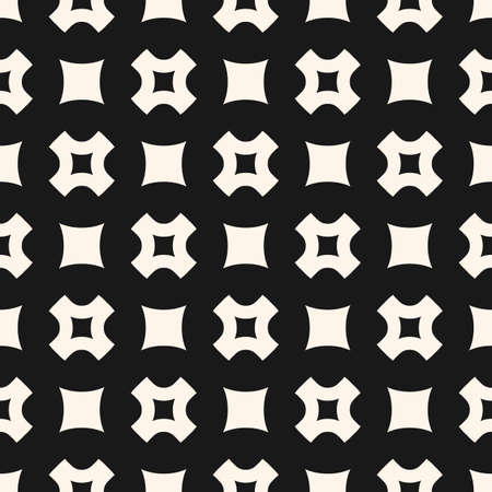 Vector seamless pattern, simple geometric texture with rounded squares, smooth perforated crosses in staggered array. Stylish dark abstract minimalist background. Design element for prints, decor, web