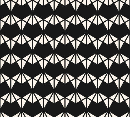 Vector geometric triangles texture. Black and white seamless pattern. Abstract ornament with small triangular shapes, diamonds, grid. Simple modern repeat design. Stylish dark monochrome background