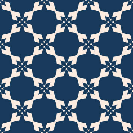 Geometric seamless pattern. Vector abstract deep blue and beige texture with diamond shapes, crosses, squares, stars, flower silhouettes, grid, lattice. Elegant ornamental background. Repeated design