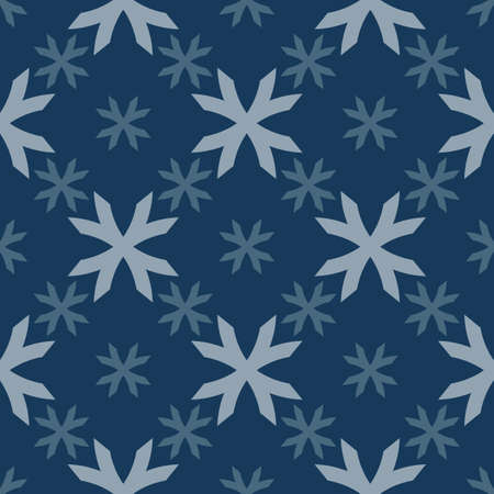 Vector geometric floral pattern. Seamless texture in ethnic style. Abstract ornament with big flower shapes, crosses. Elegant dark blue winter background. Simple repeat design for decor, wallpapers