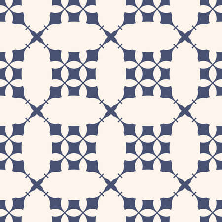 Vector abstract geometric seamless pattern with curved lines, rounded grid, net, mesh, lattice, curved shapes. Navy blue and white background texture. Repeat design for ceramic, fabric, textile, cloth