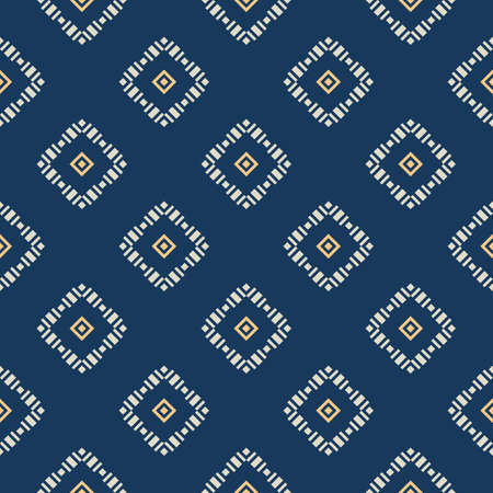Geometric square texture. Vector seamless pattern with rhombuses, diamonds, squares, grid, tiles. Elegant geo ornament. Dark blue ornate background. Repeat design for decor, wallpaper, fabric, cloth