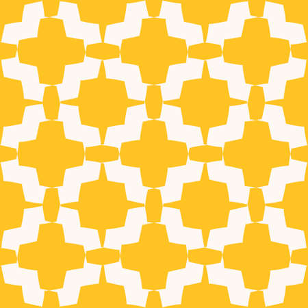Geometric floral seamless pattern. Vector abstract texture with curved shapes, flower silhouettes, stars, crosses, grid, lattice, mesh. Bright yellow and white ornament background. Cute repeat design