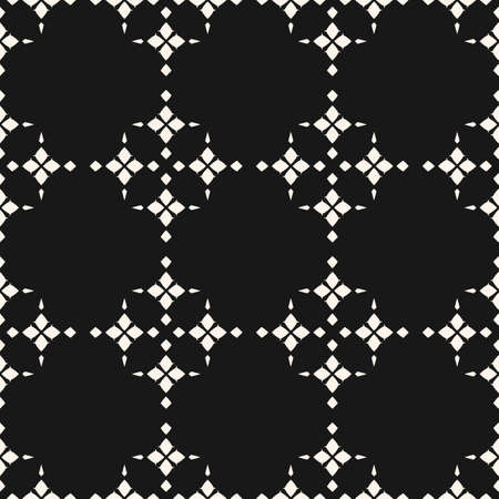 Vector abstract geometric texture. Black and white seamless pattern with flower silhouettes, diamond shapes, stars, crosses, grid, net, lattice. Elegant repeating background. Dark monochrome design