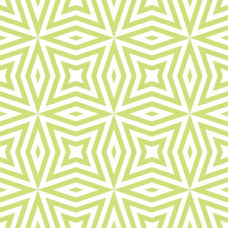Vector geometric seamless texture with lines, diamonds, stars, rhombuses, grid, net. Modern abstract linear pattern in green color. Stylish graphic background. Repeatable ornament. Fresh spring design