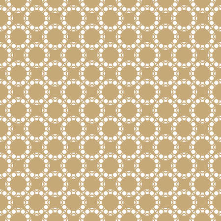 Vector golden geometric seamless pattern. Abstract background with circles, rings, circular mesh, grid, lattice. Gold and white repeat texture, art deco style. Ornament design for decor, gift paper Ilustração