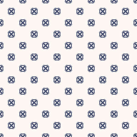 Vector geometric texture with small cross shapes, squares. Abstract minimalist seamless pattern. Navy blue and white background. Modern minimal repeat design for decor, fabric, wallpapers, textile