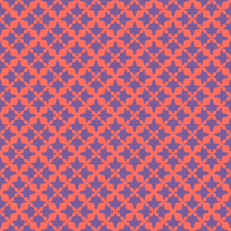 Bright colorful vector seamless pattern. Stylish abstract texture with small floral shapes, diamonds, grid, net, mesh. Background in trendy colors, living coral and purple. Simple modern repeat design Ilustração
