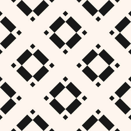 Vector geometric seamless pattern with rhombuses, diamonds, squares, floral shapes, tiles. Abstract black and white texture. Minimal monochrome ornament background. Repeat design for decor, textile