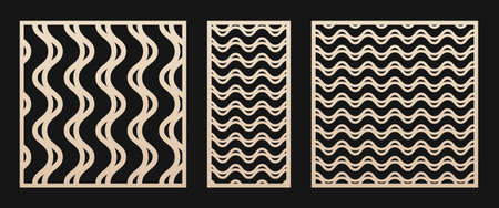 Laser cut panel set. Vector stencil with abstract geometric pattern, wavy lines, curves, stripes, horizontal and vertical. Modern swatch for laser cutting of wood, metal, panel. Aspect ratio 1:1, 1:2 Ilustração