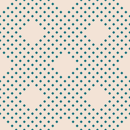 Vector geometric seamless pattern with small diamond shapes, tiny rhombuses, squares, dots. Abstract minimalist modern texture. Simple minimal background. Teal and beige color. Subtle repeat design Ilustração