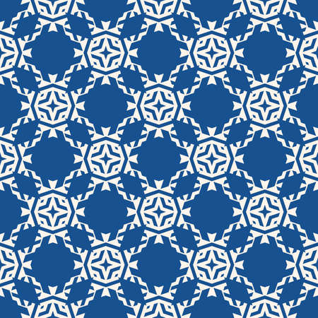 Vector ornamental seamless pattern. Floral geometric background, repeat tiles, diamonds, stars, flower shapes, grid, lattice. Abstract blue and white ornament texture. Modern oriental style design