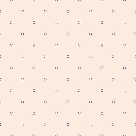 Simple minimalist vector seamless pattern. Abstract beige and blue geometric texture. Subtle minimal background with small floral shapes, tiny diamonds, dots. Repeatable design for decor, wallpapers