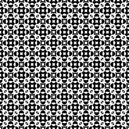 Vector seamless texture, monochrome geometric pattern with simple rounded figures, perforated squares, circles, crosses, triangles. Diagonal grid, repeat tiles. Contrast design for prints, decoration Ilustração