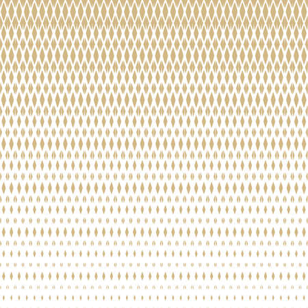 Vector golden halftone seamless pattern with diamonds, rhombuses, grid, mesh, lattice, net. Vertical gradient transition effect. Abstract geometric background in white and gold colors. Luxury design
